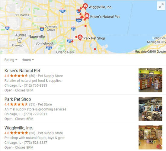 Local search results like the ones we create for our clients.