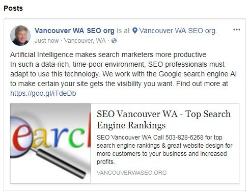 Example of a Facebook post for SEO