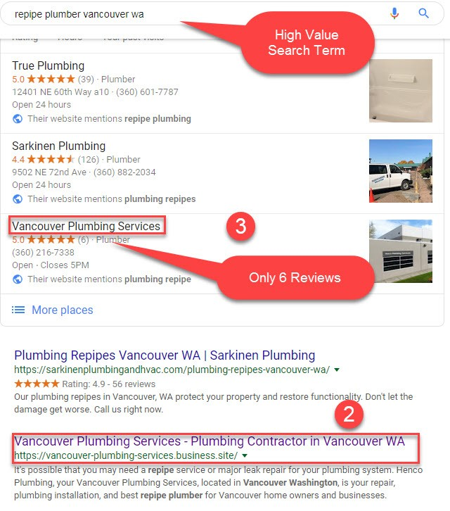 Google 3 pack, aka maps listing, demonstrating top listings for our client in Vancouver Washington