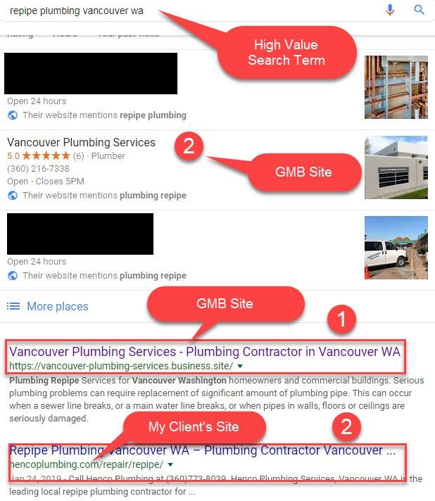 Google Maps listing for Vancouver Washington client