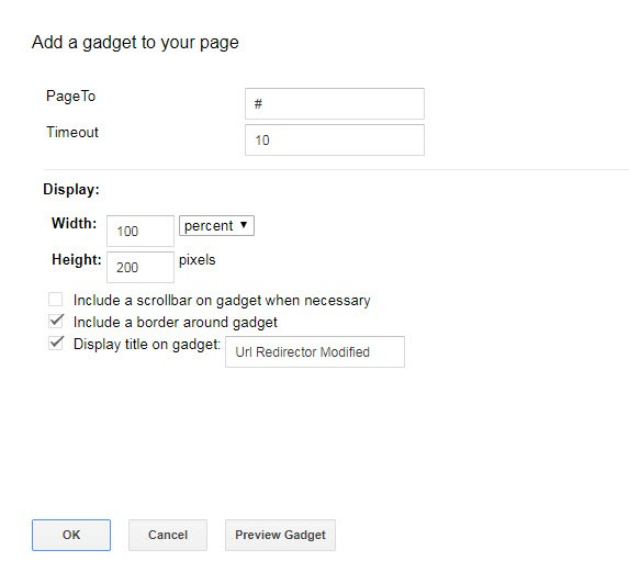 Redirect gadget for cascading web pages