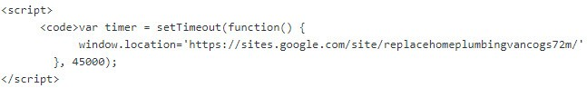 JavaScript code for redirecting from a web page