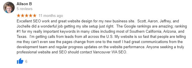 5 star review for Vancouver WA SEO from Alison B.