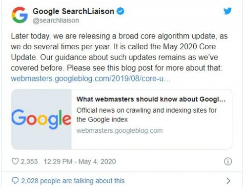Google Core Algorithm Update May 2020