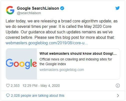 Google core update for May 2020